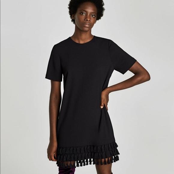 9c5ac220 Zara Black Mini Dress with Pom Poms. M_5b461fc7a31c339e83befcff